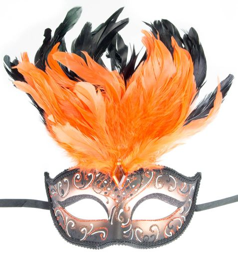 Rio Carnival Eye Mask Orange With Feathers
