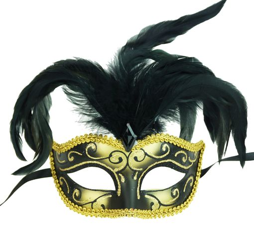 Luscious Eye Feather Mask Black