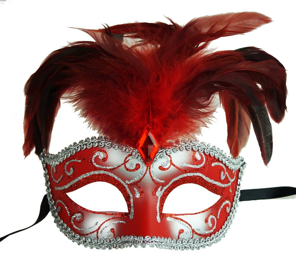 Luscious Feather Mask Red