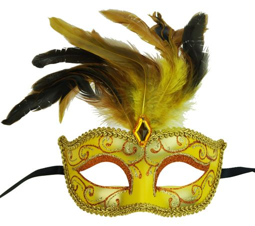 Luscious Masquerade Feather Eye Mask Yellow