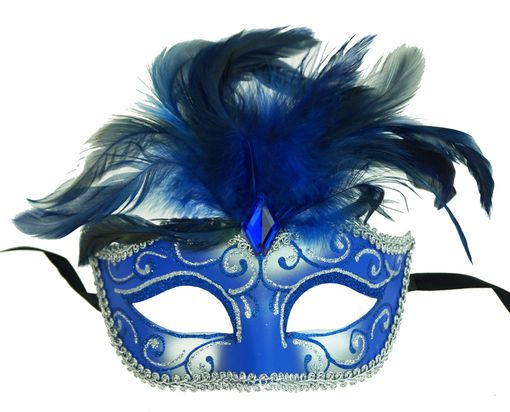 Luscious Masquerade Feather Mask Blue
