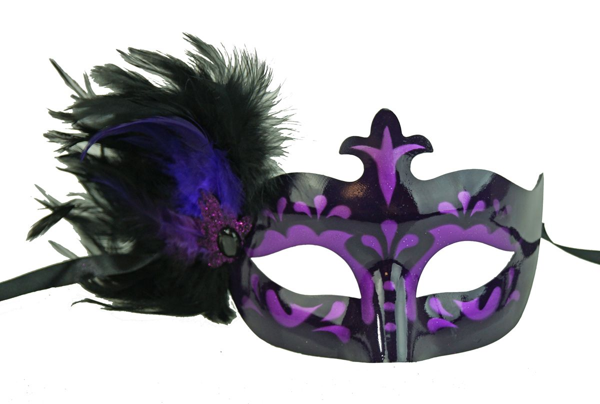 Masquerade Feather Masquerade Eye Mask Purple With Feathers