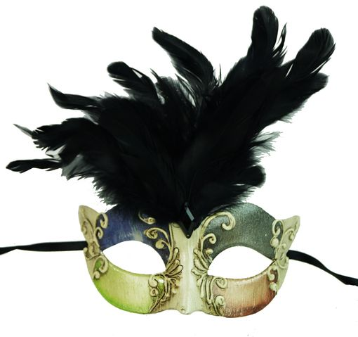 Maraca Black Feather Masquerade Mask