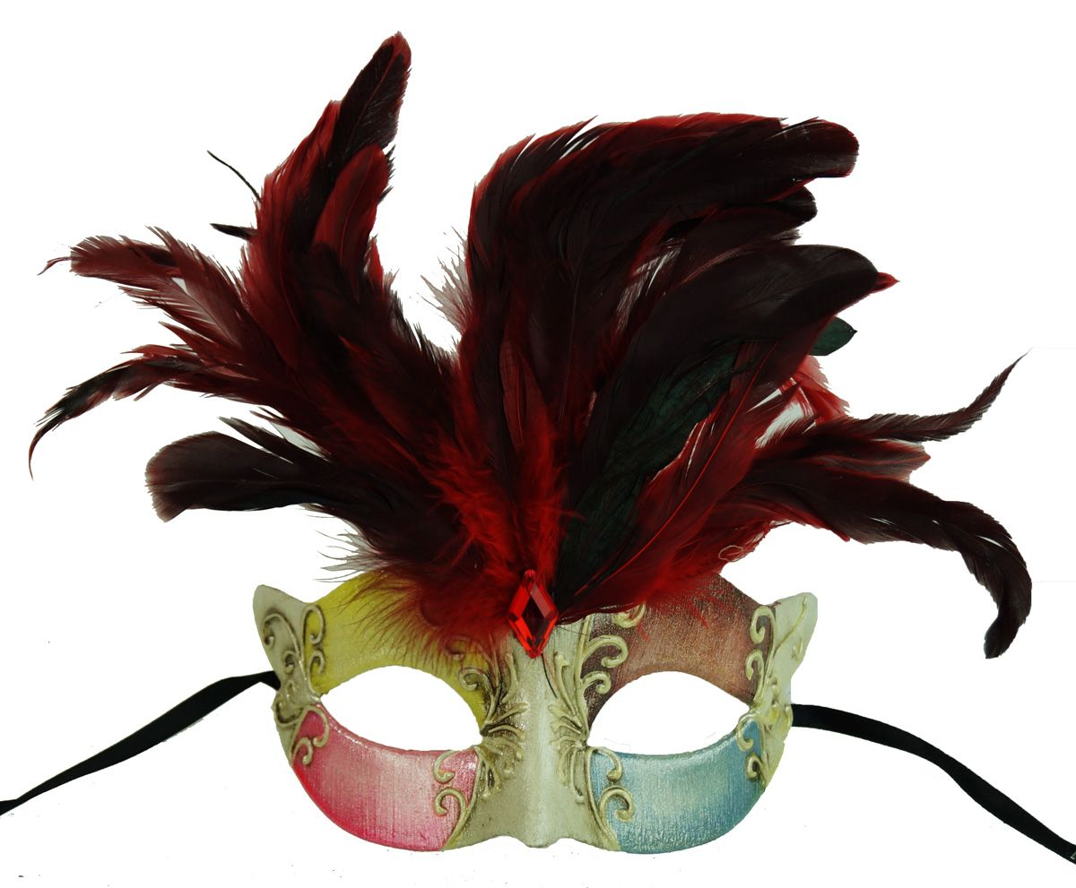 Maraca Masquerade Mask Red With Feathers
