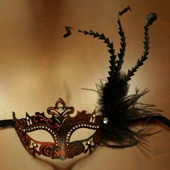 Dark Red Mardi Gras Masquerade Eye Mask With Feathers