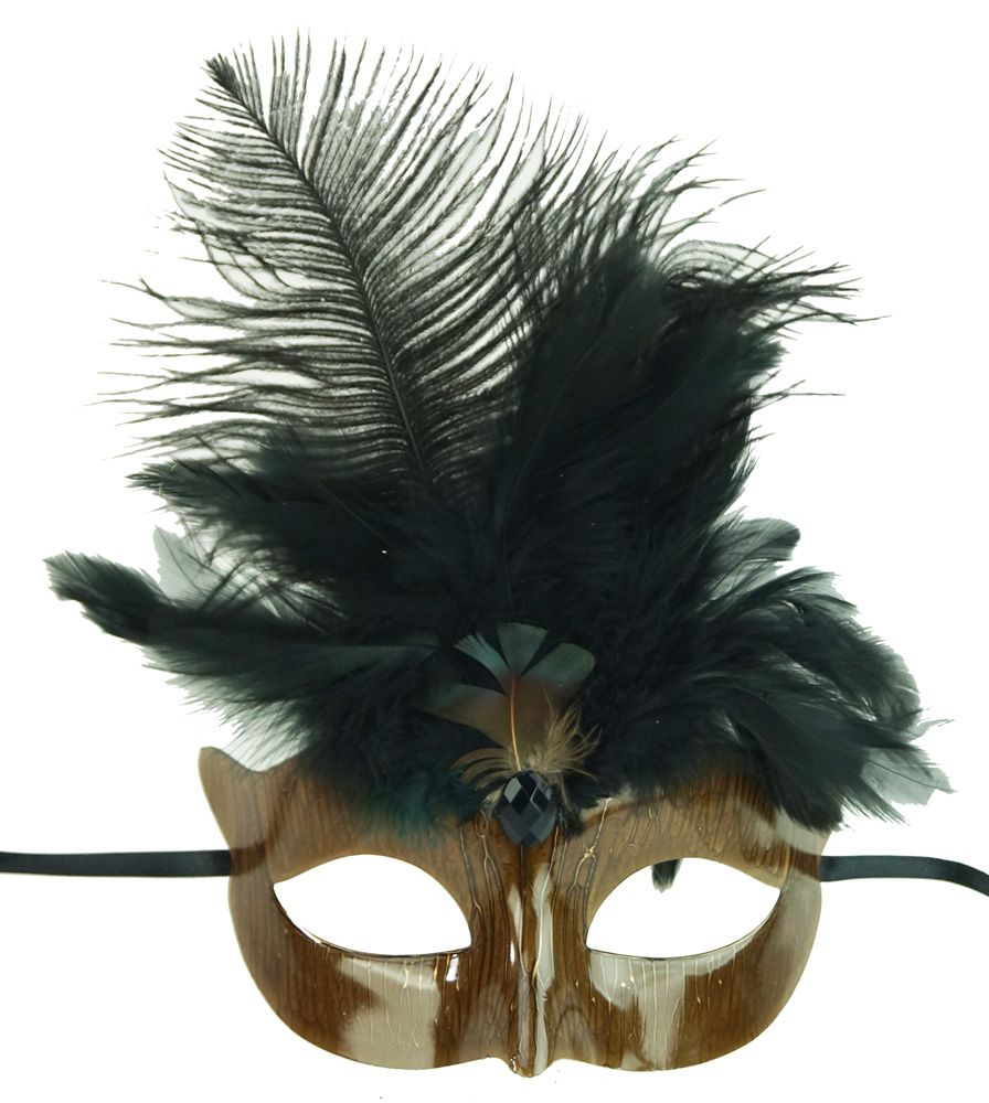 Black Mardi Gras Masquerade Eye Mask With Feathers
