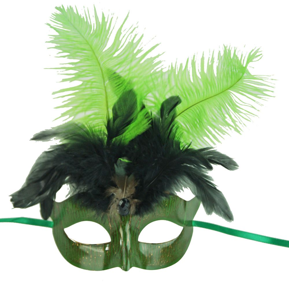 Green Mardi Gras Masquerade Eye Mask With Feathers