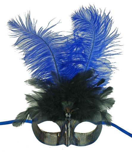 Mardi Gras Masquerade Eye Mask Blue With Feathers