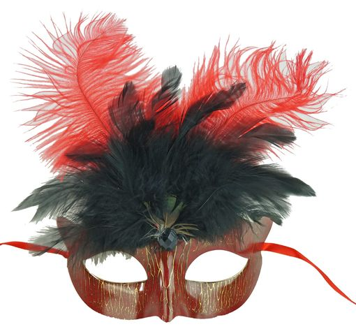 Red Mardi Gras Masquerade Eye Mask With Feathers