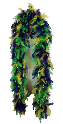 Mardi Gras Feather Boa with Tinsel