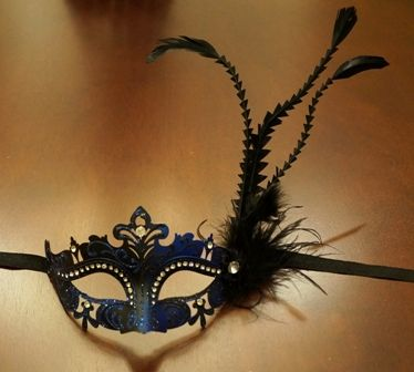 Blue Mardi Gras Feather Masquerade Eye Mask With Feathers