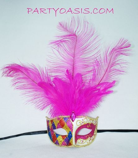 Mardi Gras Feather Masquerade Mask