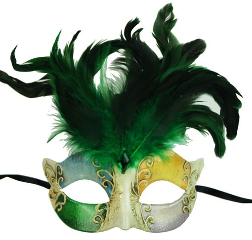 Maraca Green Feather Masquerade Mask