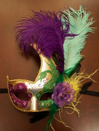 Mardi Gras Feather Swan Eye Mask