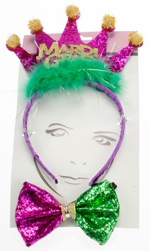 Mardi Gras Headband & bow Tie Set