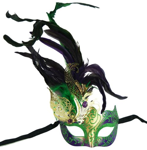 Women's Mardi Gras Laser Cut Feathered Masquerade Eye Mask