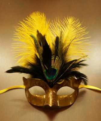 Mardi Gras Masquerade Yellow Mask With Feathers