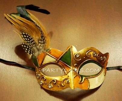Mardi Gras Masquerade Mask Gold/Green With Feathers