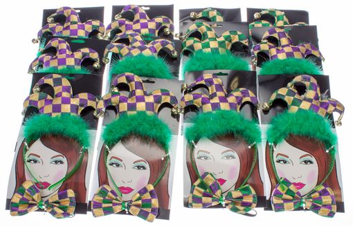 Madi Gras Jester Headband & Bow Tie Party Pack