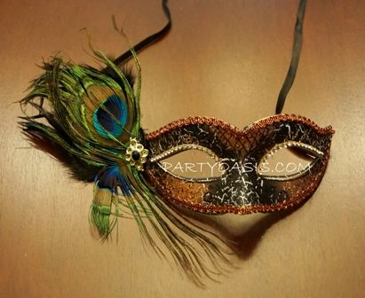 Mardi Gras Peacock Masquerade Mask With Feathers
