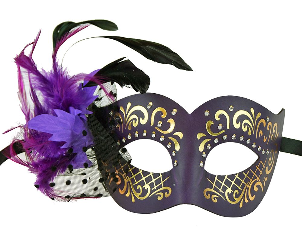 Elegant Feather Masquerade Eye Mask Purple
