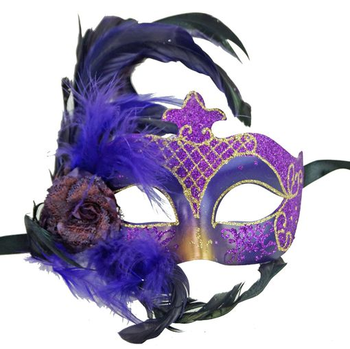 Masquerade Ball Purple Feather Eye Mask