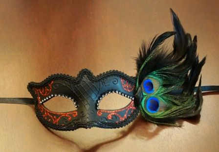 Red Masquerade Eye Mask With Feathers