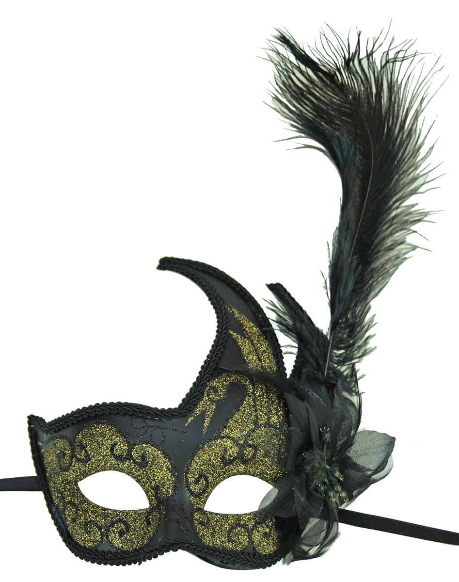 Masquerade Eye Mask Gold Color With Feathers