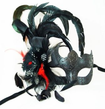 Masquerade Feather Eye Mask 12230 With Feathers