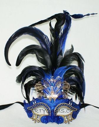 Blue Masquerade Feather Masquerade Eye Mask