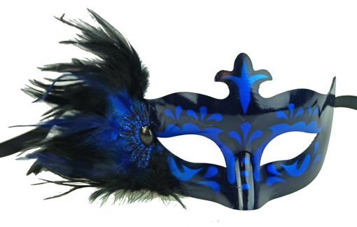 Masquerade Feathers Eye Mask In Blue