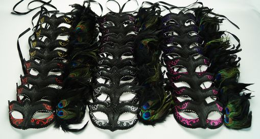 Masquerade Feather Eye Mask Party Pack
