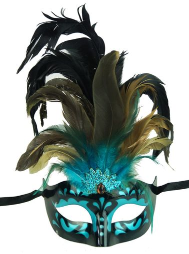 Aqua Masquerade Feather Mask