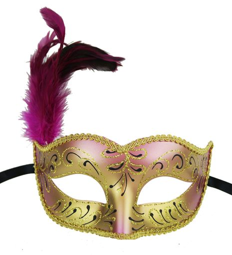 Masquerade Feather Green Pink  Mask With Feathers