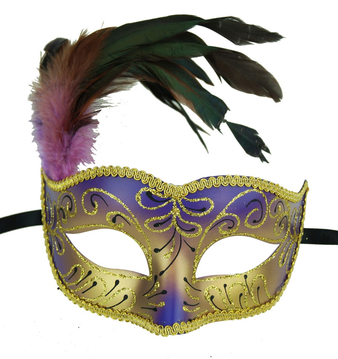 Masquerade Feather Mask Purple Color With Feathers