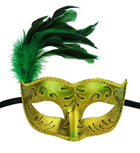 Masquerade Feather Mask In Green With Feathers