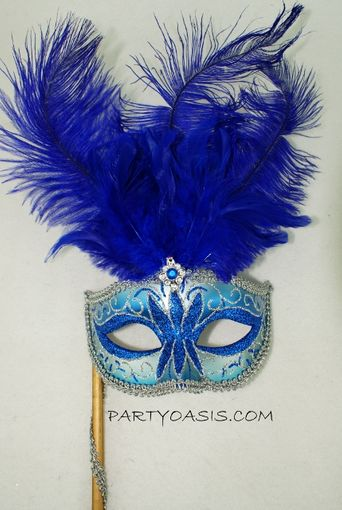 Masquerade Feather Mask With Stick