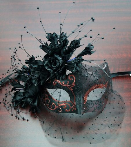 Masquerade Flower Mask Red