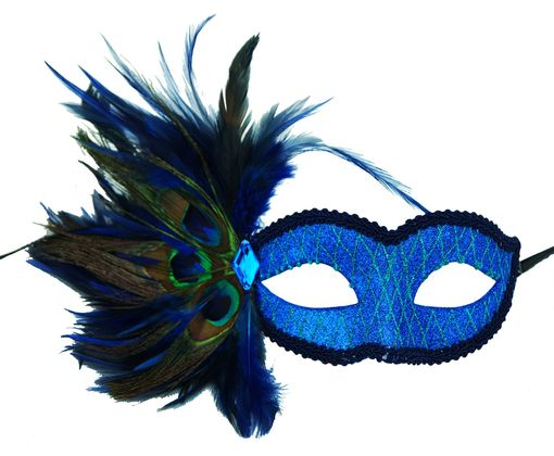 Masquerade Glitter Eye Mask In Blue With Feathers