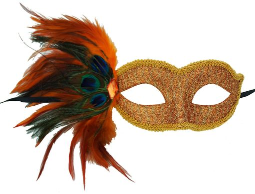 Masquerade Glitter Feather Eye Mask Orange