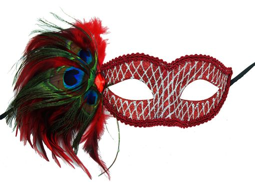 Masquerade Glitter Feather Eye Mask Red