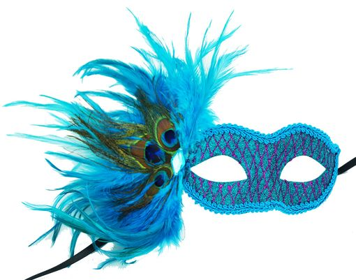 Masquerade Glittered Feather Eye Mask Aqua