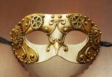 Men's Masquerade Mask With Gears Gold