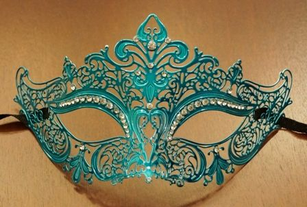 Masquerade Lazer Cut Mask In Aqua