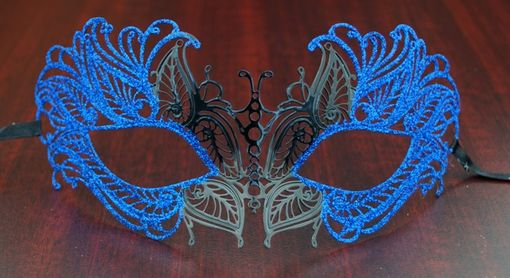 Masquerade Lazer Cut Metal Masquerade Eye Mask Blue