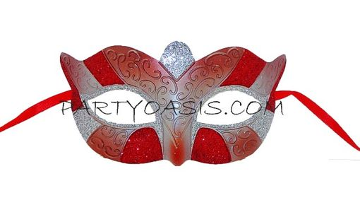 Masquerade Party Eye Mask Red/Silver