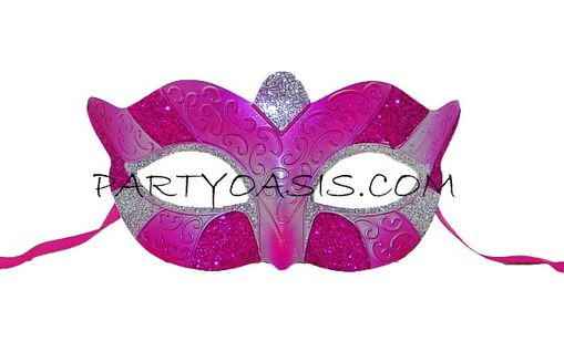Masquerade Party Mask Pink/Silver