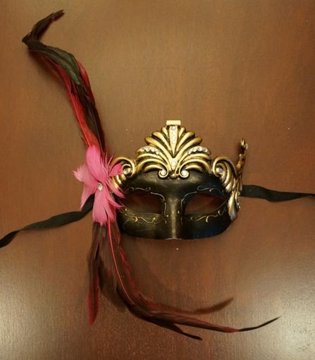 Masquerade Princess Mask with Pink Feather