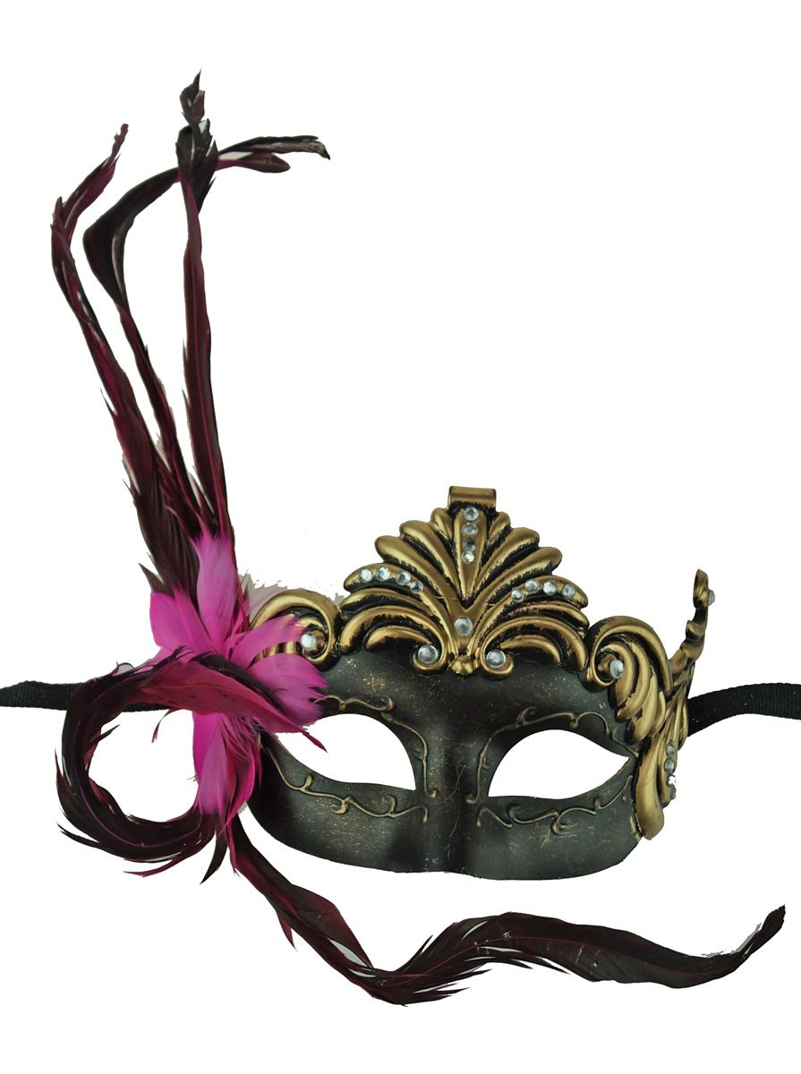 Gold Roman Masquerade Mask with Pink Feather