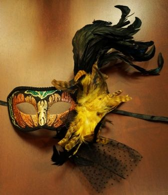 Masquerade Pumpkin Mask with Feathers